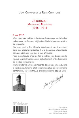 Couverture verso Journal Mission en Roumanie 1916-1918